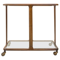 Tea Trolley Made of Solid Walnut and Glass, by Angelo Ostuni, 1955