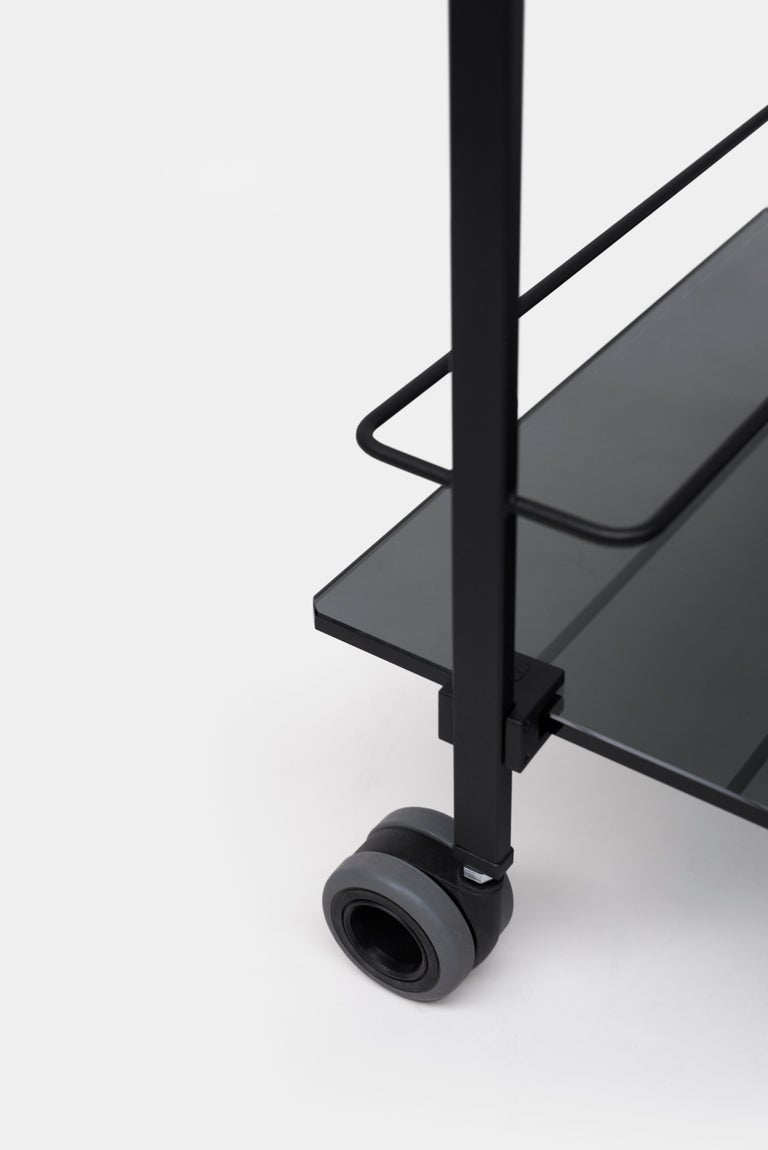 Powder-Coated Industrial design black frame grey tinted glass Tea Trolley Doris Peter Ghyczy For Sale