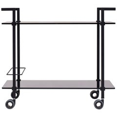 Industrial design black frame grey tinted glass Tea Trolley Doris Peter Ghyczy