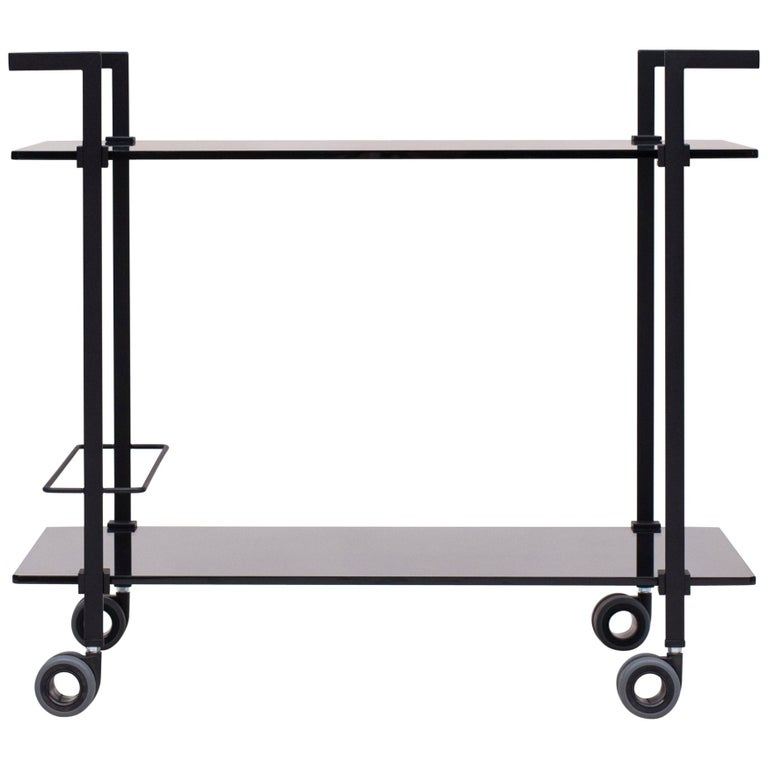 Industrial design black frame grey tinted glass Tea Trolley Doris Peter Ghyczy For Sale