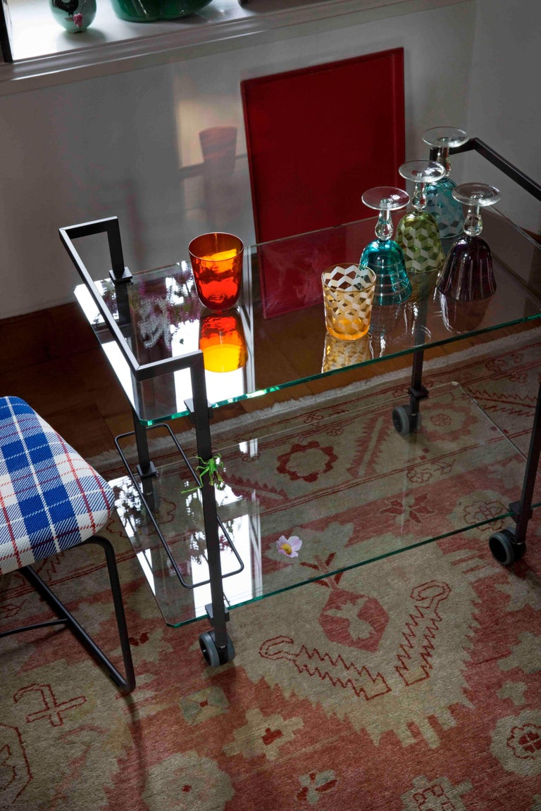 Dutch Tea Trolley Pioneer T63S Frame Brass Matt, Satin Glass, New Extremes Style For Sale