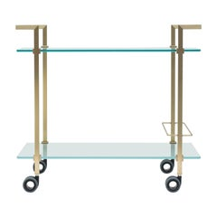 Tea Trolley Pioneer T63S Frame Brass Matt, Satin Glass, New Extremes Style