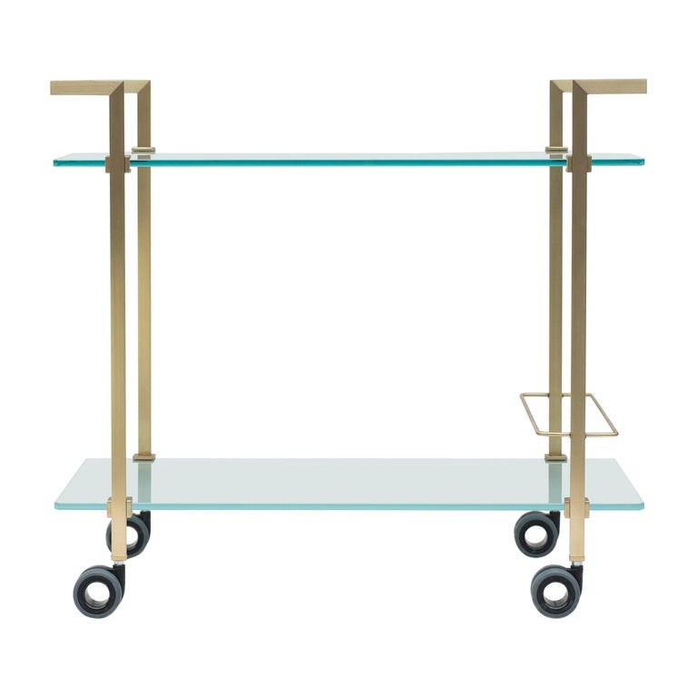 Tea Trolley Pioneer T63S Frame Brass Matt, Satin Glass, New Extremes Style For Sale
