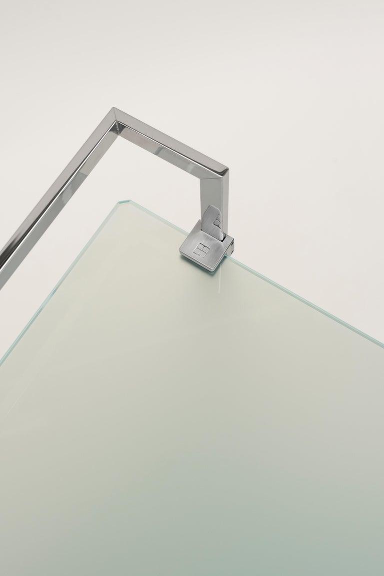 European Doris Tea Trolley T63s, Stainless Steel mirror, Glass, Minimalist Style For Sale