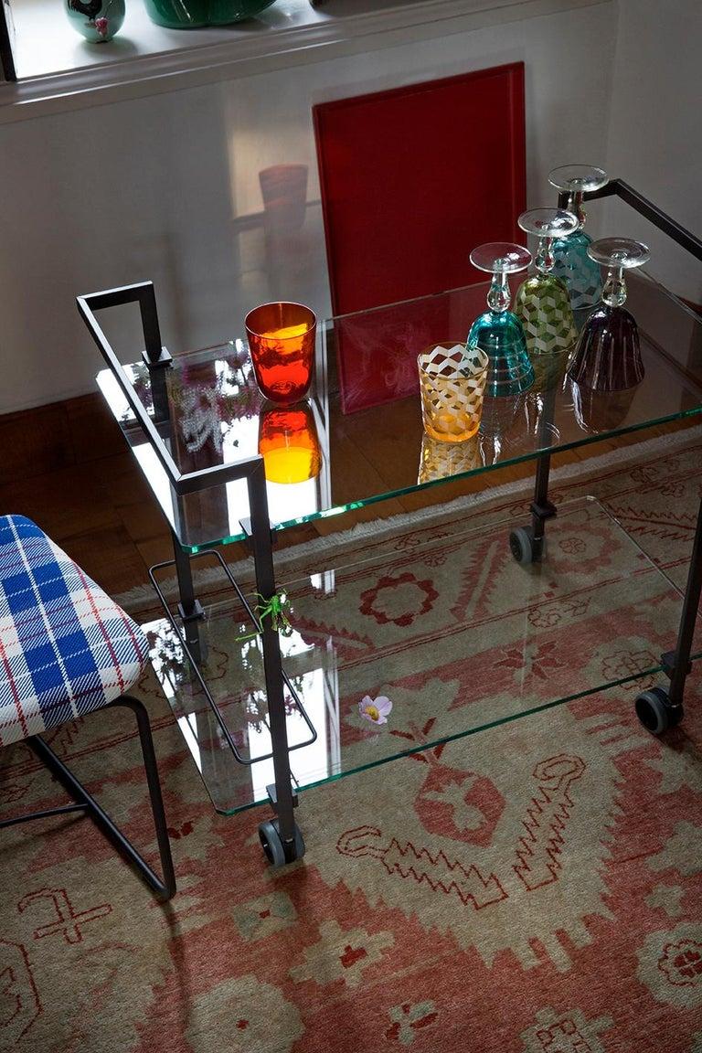 Doris Tea Trolley T63s, Stainless Steel mirror, Glass, Minimalist Style For Sale 1