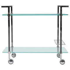 Tea Trolley Pioneer T63S, Stainless Steel Gloss, Glass, Minimalist Style