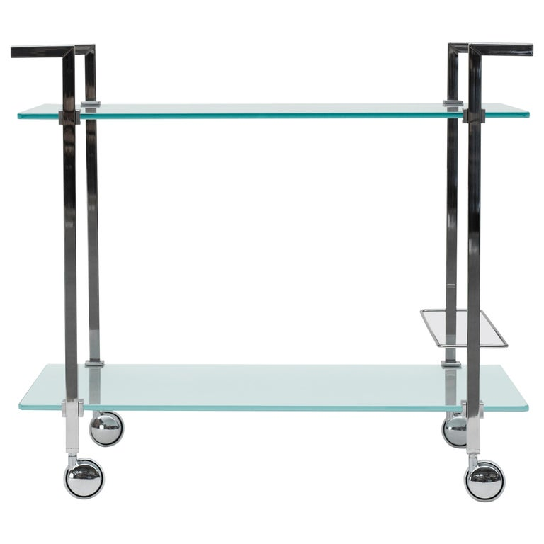 Doris Tea Trolley T63s, Stainless Steel mirror, Glass, Minimalist Style For Sale
