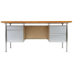 Teak and Aluminum Industrial Executive Desk by Welton Becket