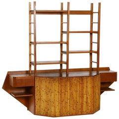 Teak and Bamboo Desk Wall Unit Attributed to Osvaldo Borsani