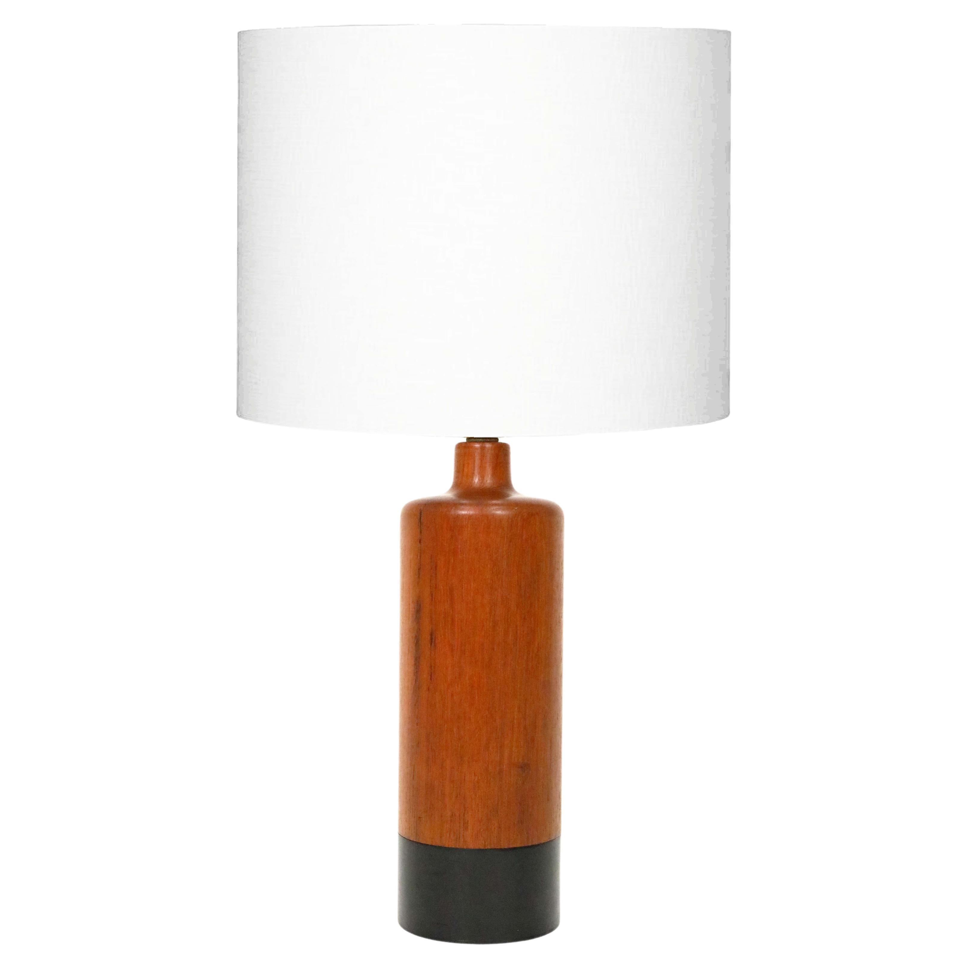 Danish Teak Lamp with Black Leather by ESA