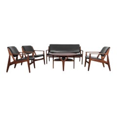 Teak and Black Leather Living Room Set by Arne Vodder