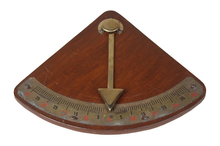 Teak and Brass Nautical Ship's Clinometer In Good Condition For Sale In Nantucket, MA