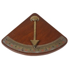 Teak and Brass Nautical Ship's Clinometer