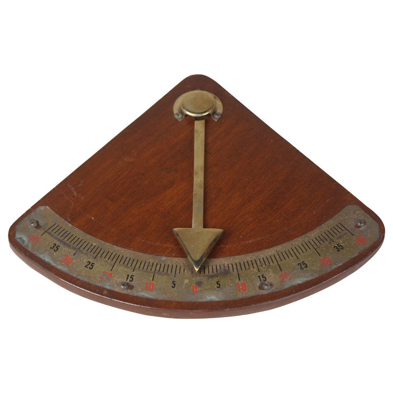Teak and Brass Nautical Ship's Clinometer For Sale