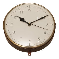 Teak and Brass Ship's Nautical Clock, 1970s