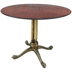 Teak and Brass Table Decorated 1960s, Midcentury