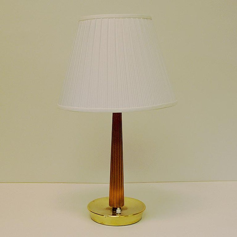 Scandinavian Modern Teak and Brass Table Lamp by Hans Bergström for ASEA, Sweden, 1940s