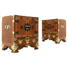 Teak and Burl Wood Chinese Campaign Nightstand End Tables with Brass Fittings