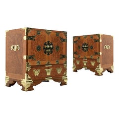 Teak and Burl Wood Chinese Campaign Nightstand with Brass Fittings