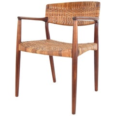 Teak and Cane Armchair by Larsen and Madsen
