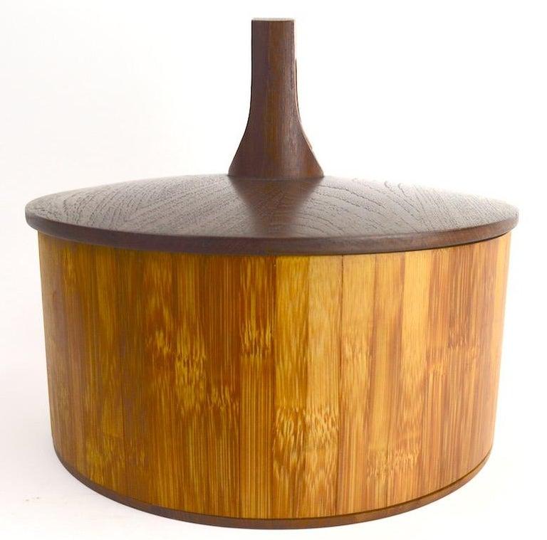 Scandinavian Modern Teak and Cane Ice Bucket by Quistgaard for Dansk For Sale