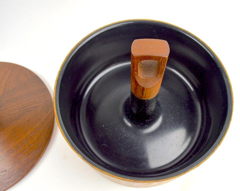 Teak and Cane Ice Bucket by Quistgaard for Dansk In Good Condition For Sale In New York, NY