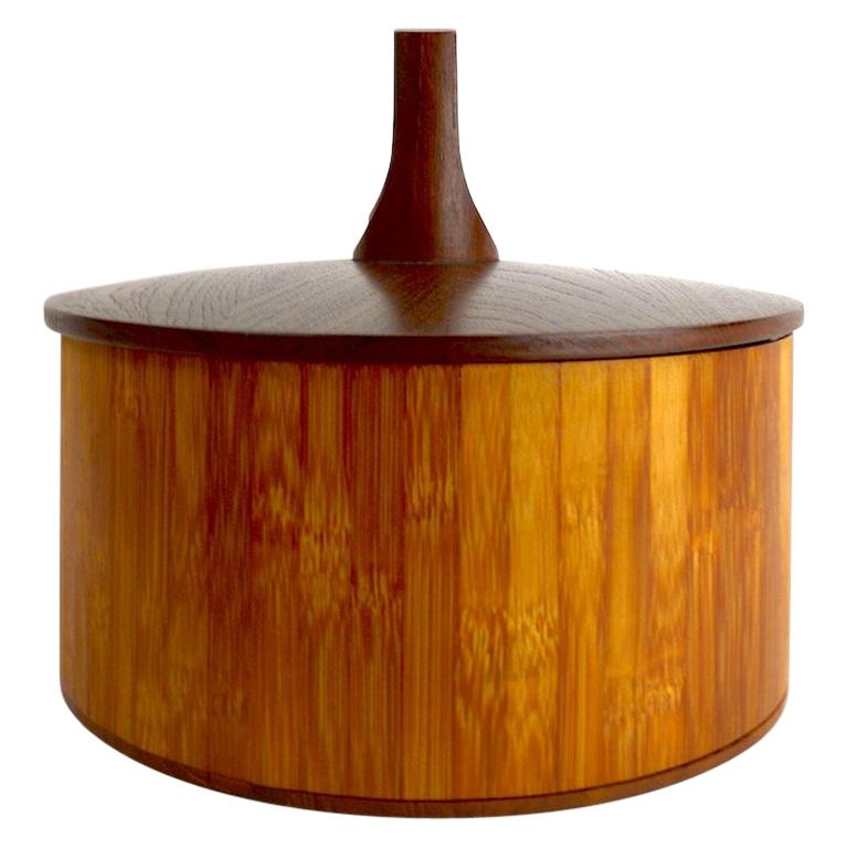 Teak and Cane Ice Bucket by Quistgaard for Dansk For Sale