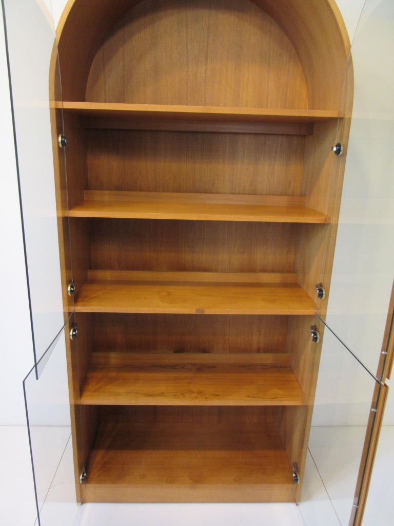 Teak and Glass Danish Styled Bookcase For Sale 4