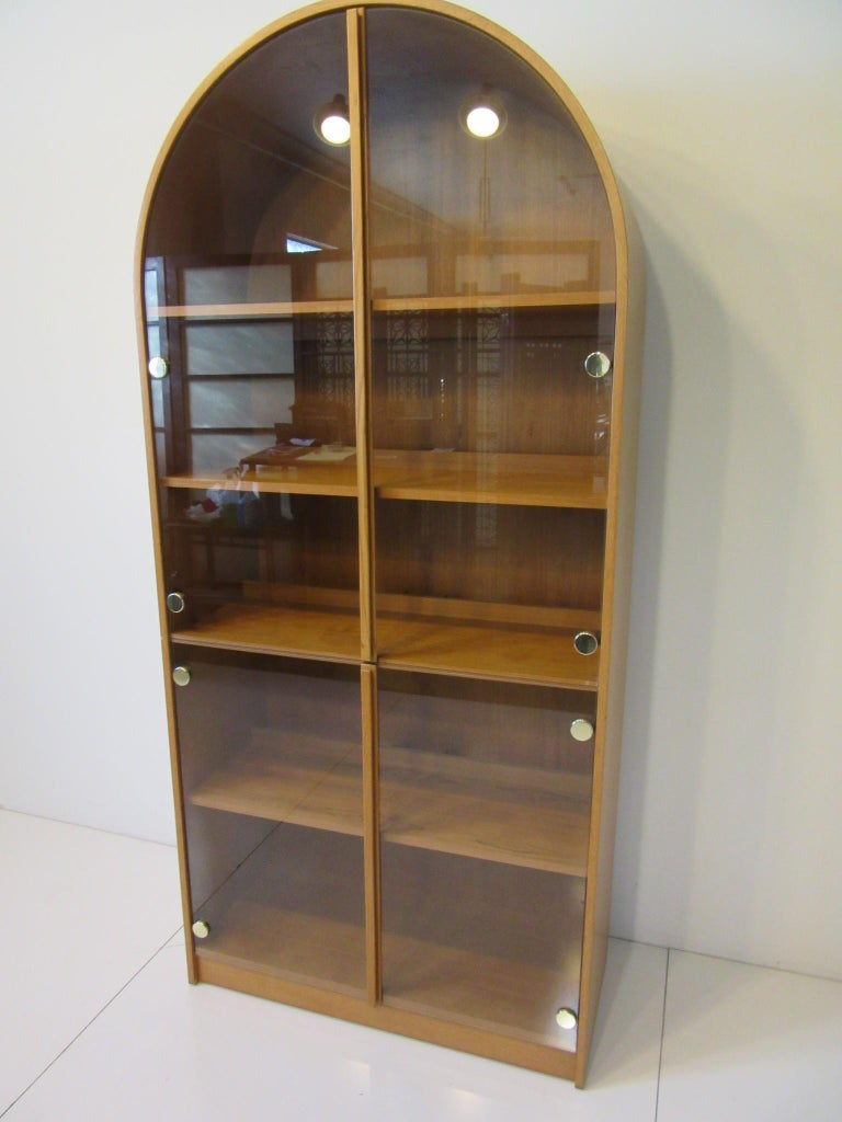 Mid-Century Modern Teak and Glass Danish Styled Bookcase For Sale