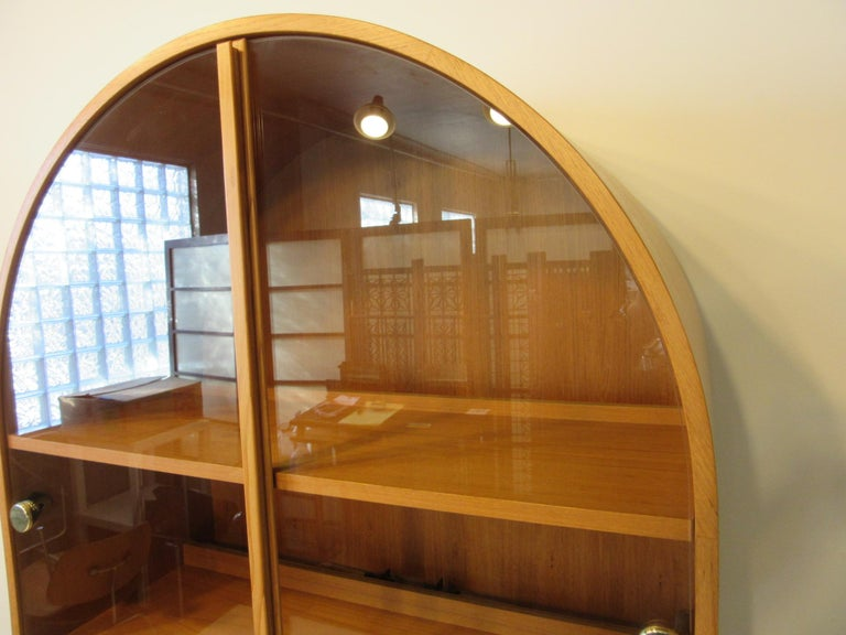 Belgian Teak and Glass Danish Styled Bookcase For Sale