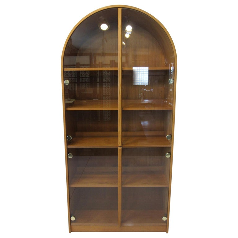 Teak and Glass Danish Styled Bookcase For Sale