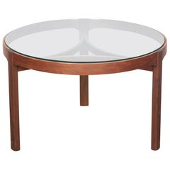 Teak and Glass Top Round Coffee Table by Nathan, England