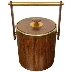 Teak and Gold Metal Ice Bucket Holder, Made in Italy, 1960s