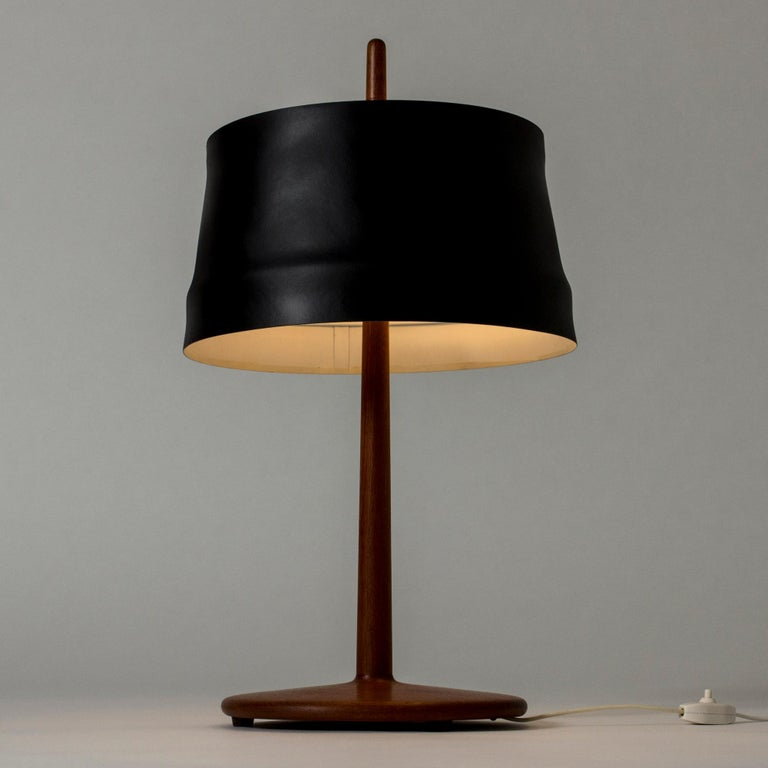 Teak and Lacquered Black Metal Table Lamp by Alf Svensson for Bergboms, Sweden For Sale 1
