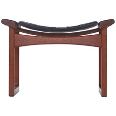 "Teak and Leather ""China"" Stool by Larsen & Bender Madsen, Danish Modern, 1950s"