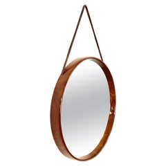 Teak and Leather Uno & Östen Kristiansson Swedish Wall Mirror for Luxus, 1960s