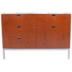 Teak and Marble Florence Knoll Executive Small Chest for Knoll