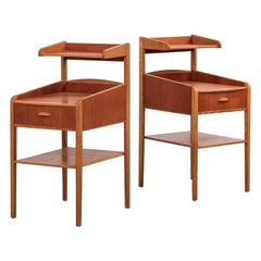 Teak and Oak Scandinavian Side Tables/Nightstands, 1960s