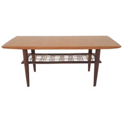 Teak and Rattan Coffee Table Attributed to Louis van Teeffelen for Webe, 1950s
