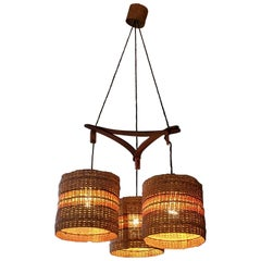 Teak and Rattan Pendant Light with 3 Cylindrical Shades, Italy, Midcentury