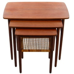 Teak and Rosewood Nesting Tables, 1950s, Danish Mid-Century Modern Nested Tables