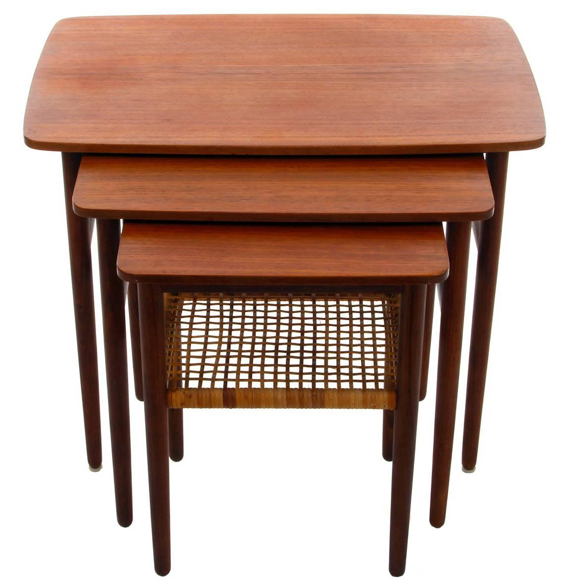 Teak And Rosewood Nesting Tables, 1950s, Danish Mid Century Modern Nested  Tables For