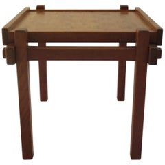 Teak and Rosewood Side Games Table 1970s Japanese Style