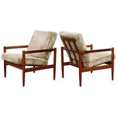 Teak and Shearling Fur Lounge Chairs by Børge Jensen & Sønner, 1960s, Signed