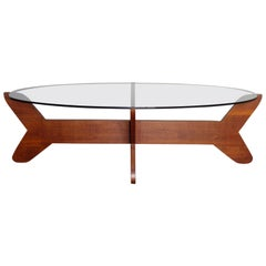 Teak and Smoked Glass Coffee Table, 1960s