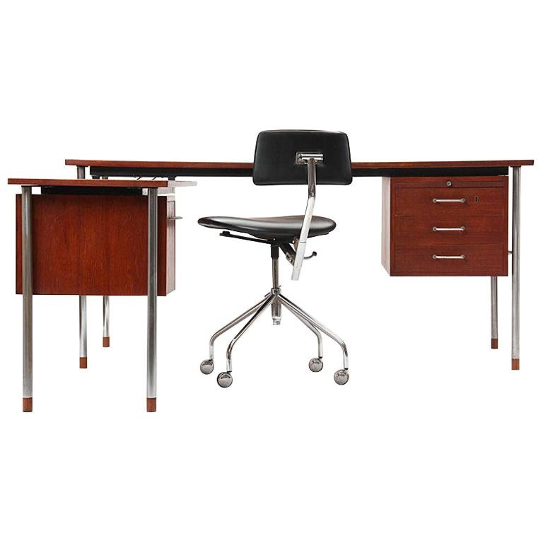 Teak and Steel Desk by Larsen and Madsen For Sale