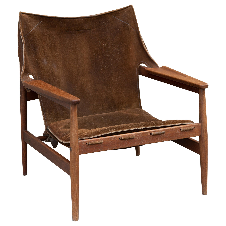 """Teak and Suede """"Sling"""" Lounge Chair by Ole Gjerløv-Knudsen"""