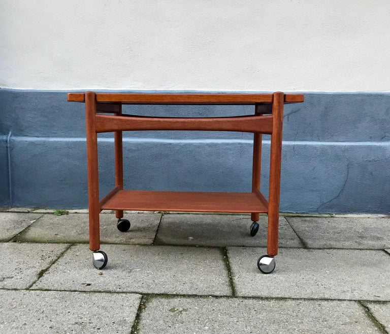 Mid-20th Century Teak Bar Cart, Tray Top Table by Hans Wegner for PP Møbler, 1960s
