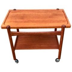 Teak Bar Cart, Tray Top Table by Hans Wegner for PP Møbler, 1960s