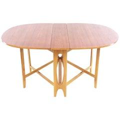 Teak Bendt Winge Space Saver Drop Leaf Midcentury Dining Table